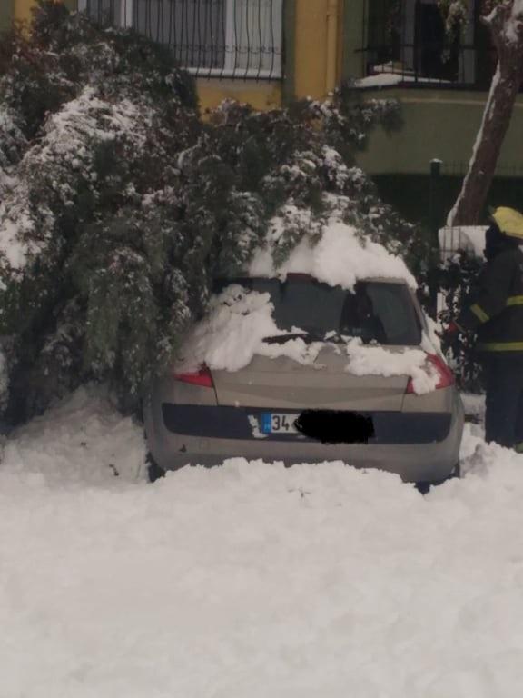Gebze'de Kar fırtınası ağaçları devirdi
