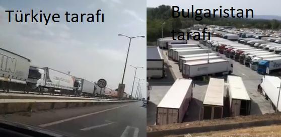 Sınırdaki TIR çilesinde; Bulgar tarafı TIR Parkını yaptı, Türkiye tarafında ise halen uzun kuyruklar var!