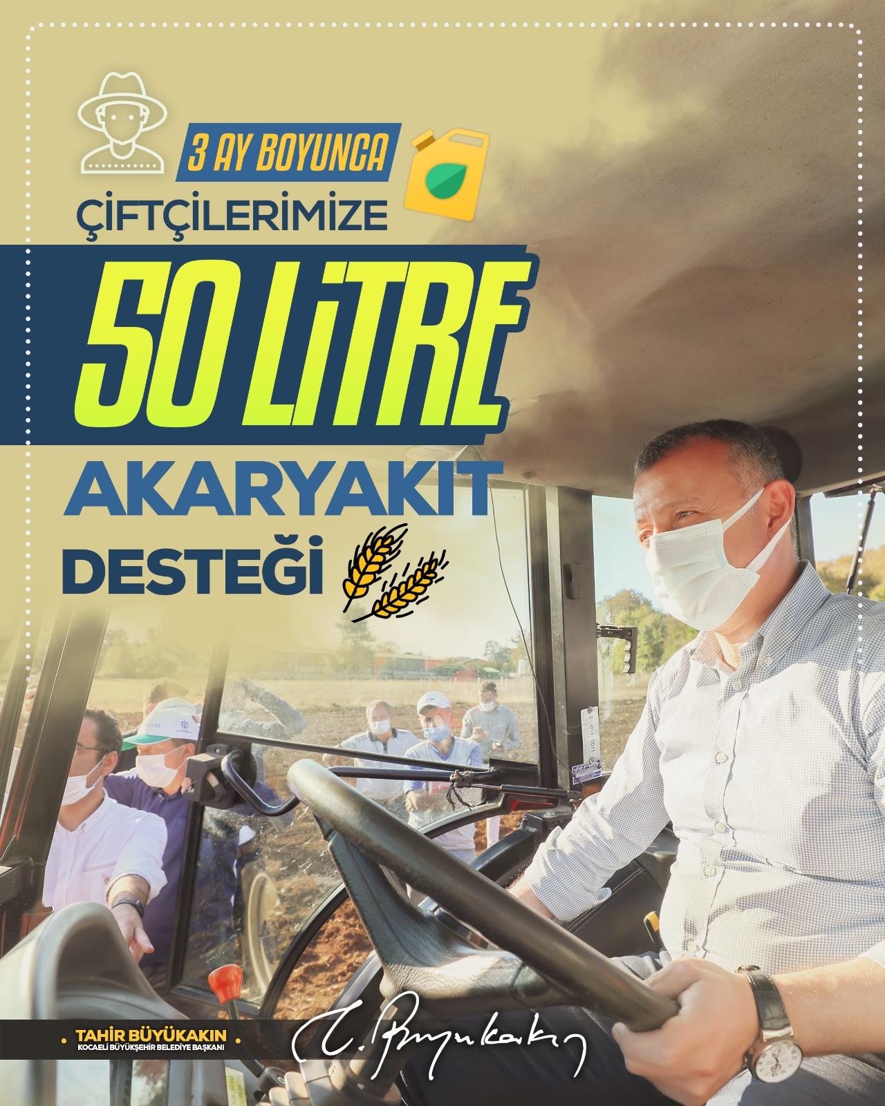 Büyükşehir'den, çiftçiye akaryakıt desteği